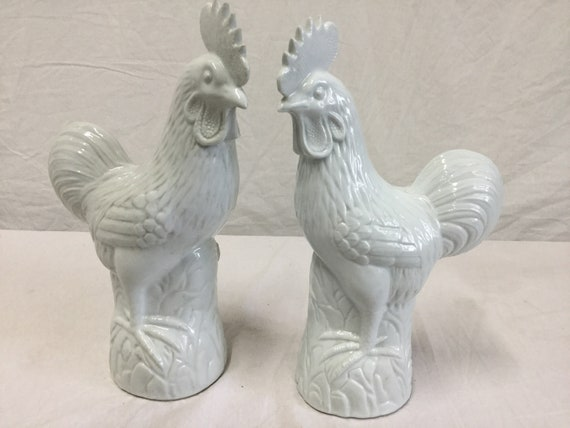 Stamped marked and numbered Fujian Province Dehua pair of Roosters Ca. 1890s-1920s