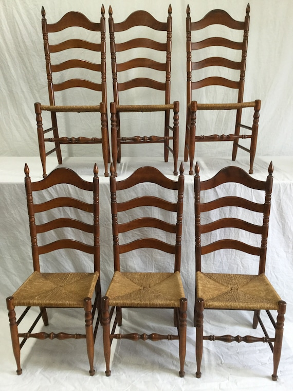 Ca 1900s Ladderback chairs in Solid Birch Wood with Rush Seats for Cottage Style to French style