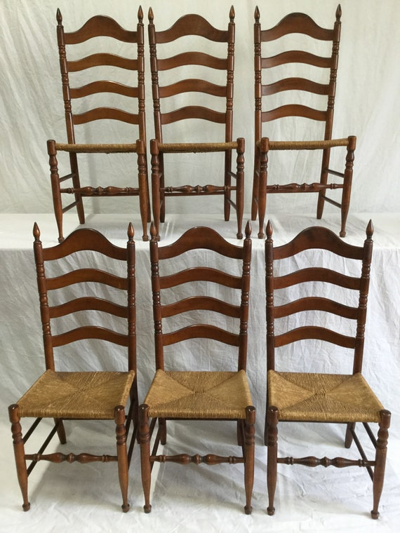 SOLD - Ca 1900s Ladderback chairs in Solid Birch Wood with Rush Seats for Cottage Style to French style