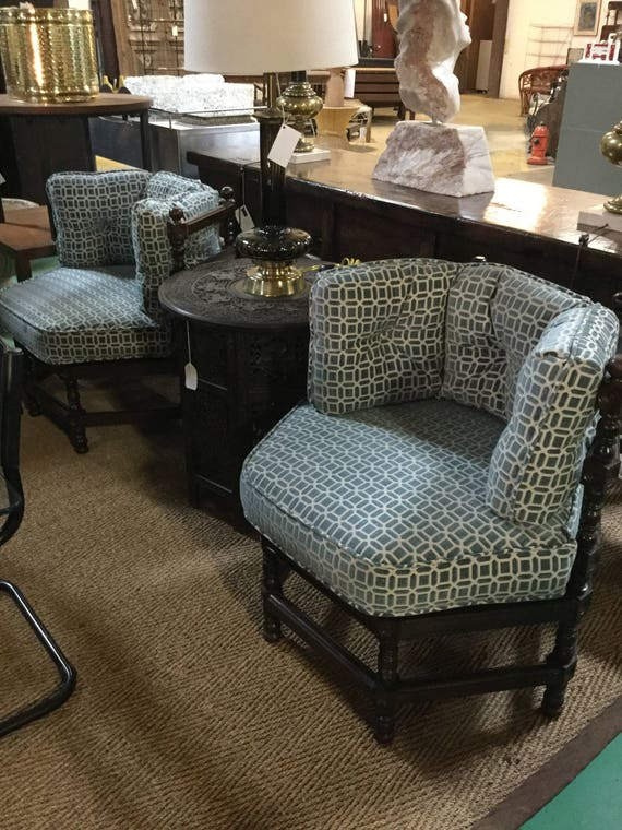 Pair of Late 19th c. Solid Walnut Jacobean Style Six Sided with turned ball and legs Re-Upholstered in Wedgewood Blue Cut Velvet  Fabric