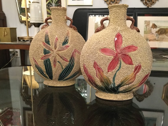 Ca. 1950s Pair of Sand Art Ceramic Vases