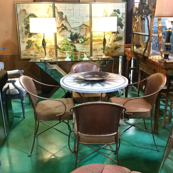 SOLD: Ca. 1960s Iron and Marble Cafe Indoor/outdoor Cafe Set with Four chairs Reupholstered in Saddle Brown Naugahyde Ostrich, Italy