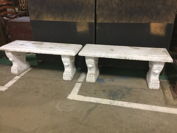 Awesome Pair Of Painted Cement Benches Evergreenethics Interior Chair Design Evergreenethicsorg
