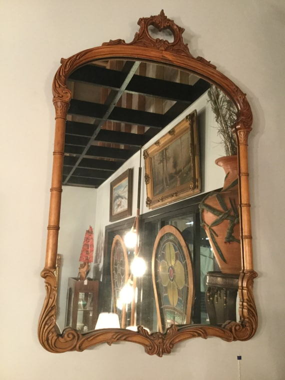 SOLD - Hand Carved Mahogany Mirror Chippendale Style Ca. 1890s