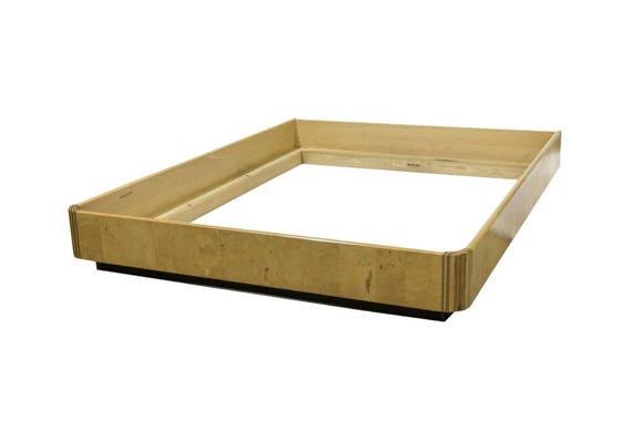 SOLD - Ca. 1970s Henredon Ash Burl Queen Size Platform Bed Frame