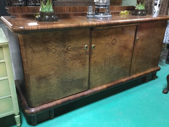 Ca. 1930s Art Deco Mahogany Solids and Zebra wood Sideboard