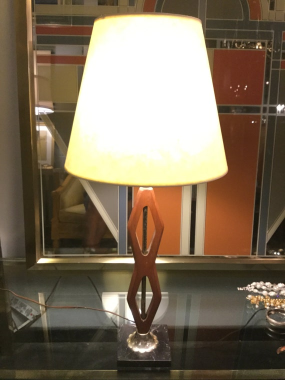 Mid century Teak, Marble and Silver Lamp