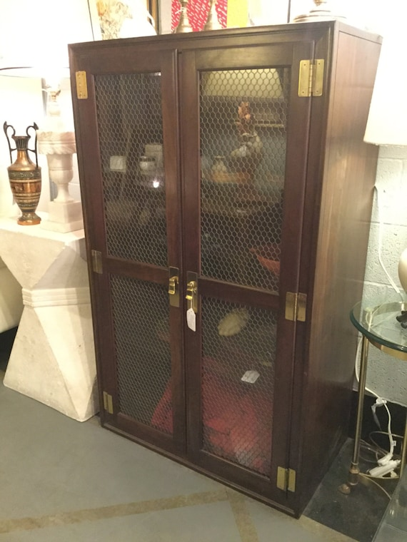 SOLD: Chicken Wire Front Mid Century Mahogany Cabinet