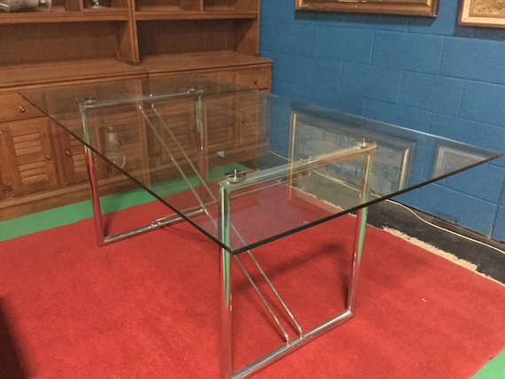 Brueton Chrome Desk or Dining Table with Floating Glass Top