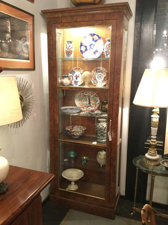 SOLD - Ca 1970s Pair of Baker Furniture Collector's Curio Cabinet in Yew Burlwood