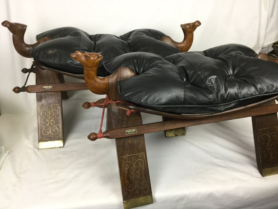 Fabulous Ca 1940S Camel Stools By M Hayat And Brothers Peshawar Pakistan In Sheesham Rosewood With Black Tufted Leather Machost Co Dining Chair Design Ideas Machostcouk