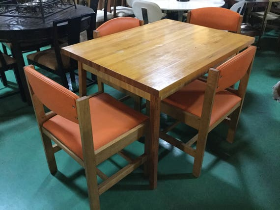 SOLD - Mid Century Solid White Oak chairs and Maple Butcher Block top