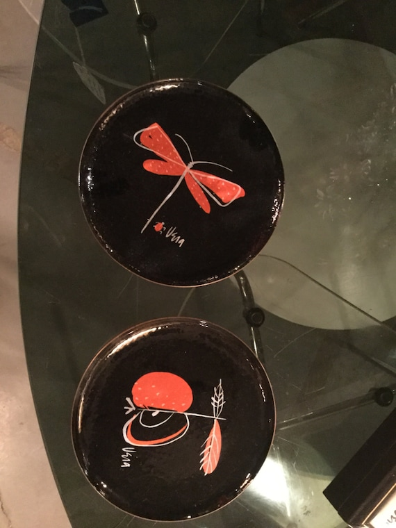 SOLD - Pair of Vera Neumann Enameled Copper Plates