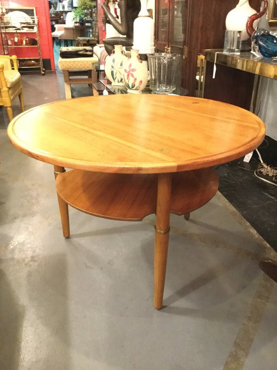 34 inches Diameter Kresten Buch Round Danish table with brass accents