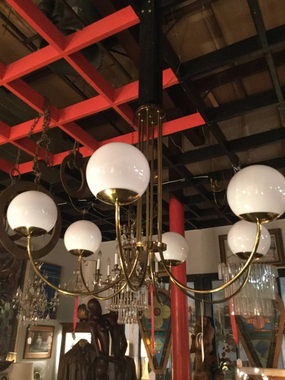 SOLD: Ca. 1960s Italian Brass and Opaline Glass Bulbs 6 lights Chandelier
