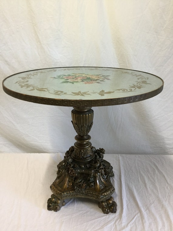 Ca. 1890s French Hand Carved Solid Wood Reverse Eglomise with silver leaf Background