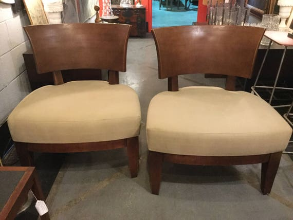 SOLD - Pair of Modern Bernhardt Wood Back Slipper Chairs