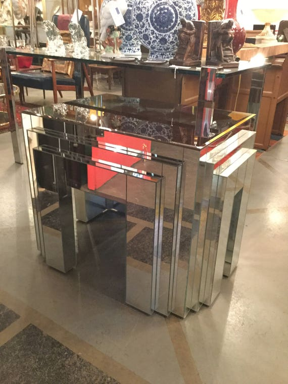 Jacque Grange For Carl Mirrored Art Deco three tiered Table with Smoked Mirrored Top