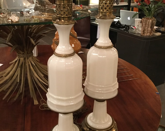 Pair of Paul Hanson White Opaline Glass with Brass Accents ca. 1940s