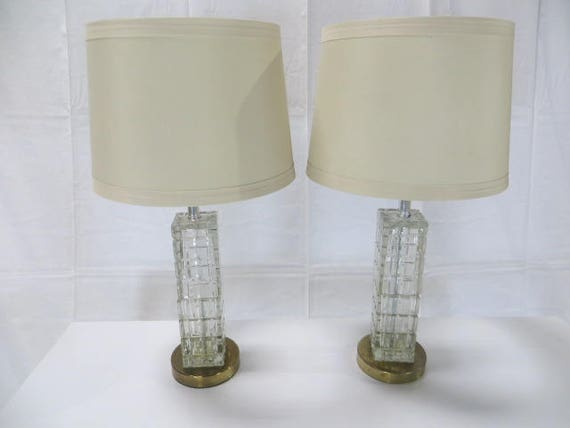 SOLD:Pair of Mid-Century Modern Heavy Crystal, Square Table Lamps from Portugal