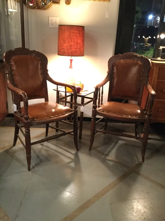 SOLD - Rare Bentwood Pair of Mahogany and Leather Chairs