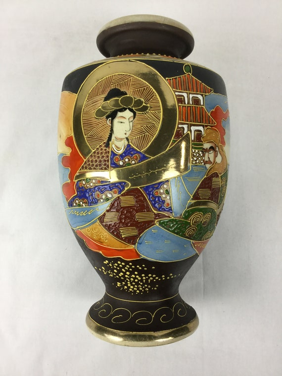 SOLD Ca. 1900-1920s Meiji Period (1868-1912) Marked with Gyozan Satsuma classified as Awata- Kyo-Yaki with Moriage Relief Gold Enameled Gilt