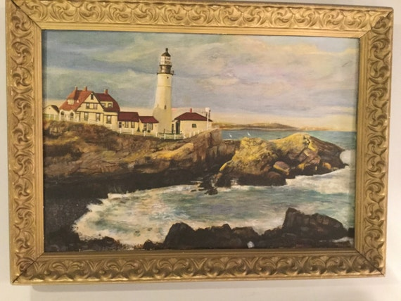 SOLD - Signed Richard Burt 1933 of Maine Light House Oil on Canvas