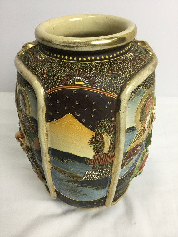 SOLD - Ca. 1930s-1940s Satsuma Vase with Moriage Relief