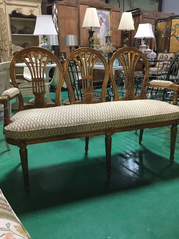 French Gilt Wheatback Bench Reupholstered in Loomed Chennile Ca. 1900s