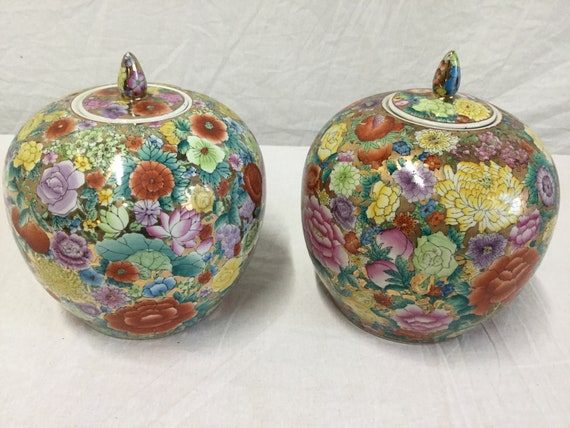 Ca. 1940s HandPainted Chinese Import Ginger Jars with Millefiori Design withGold background A Pair