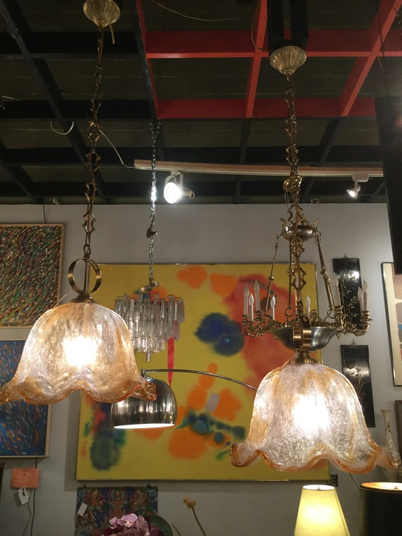 SOLD - Pair of Ca. 1970s Murano Chandelier by Carlo Nason for Mazzega