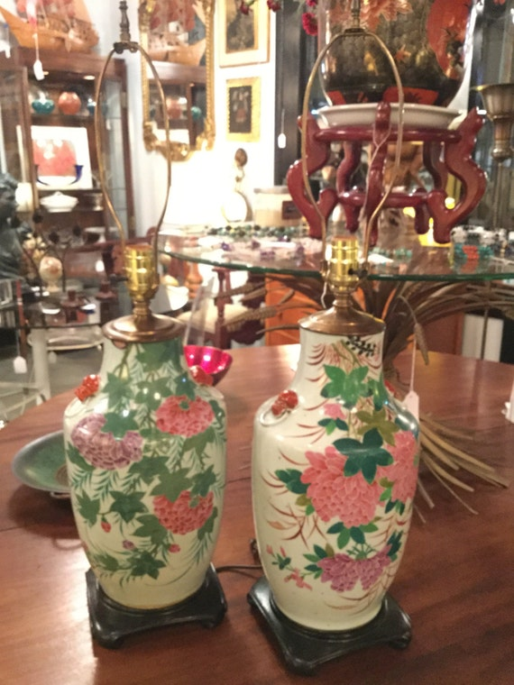 SOLD - Pair of Gorgeous Early 20th C. Handpainted Ceramic Chinese Lamps