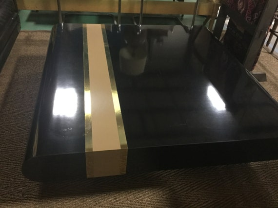 SOLD: Amazing 70s Pierre Cardin Style Cocktail Table with Lacquered and Brass Inlaid Stripes and Lucite Drum Legs
