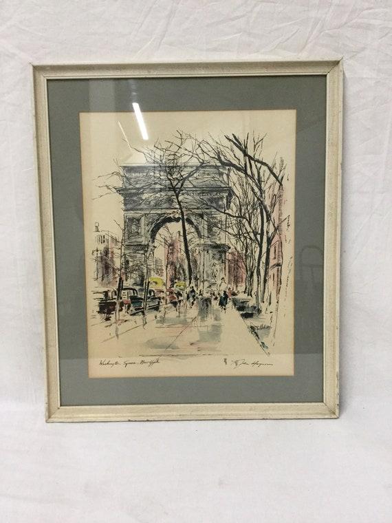 "SOLD - John Haymson (American 1902-1980) mixed media ""Washington Square, New York""1967"