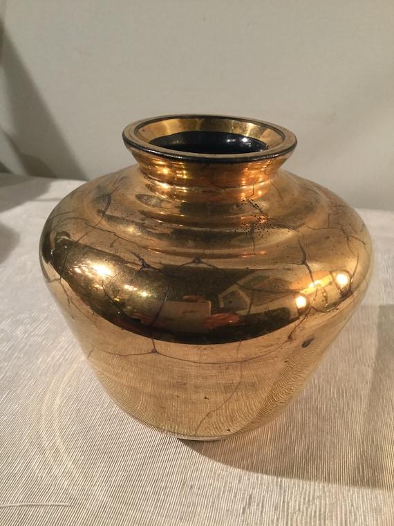 Ca. 1930s Verre Dorre St. Prex French Swiss 24K Gold Vase