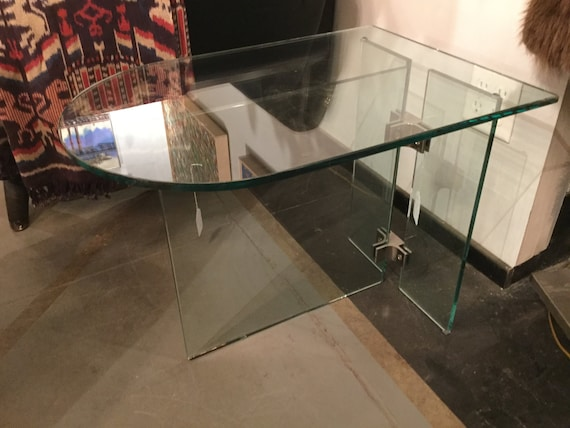 SOLD - Pair of PACE Collection Glass and Chrome End Tables