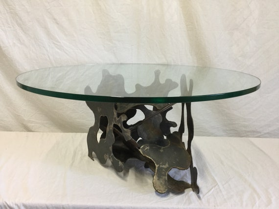 SOLD - Steel Base Sculptural ca. 1970s Brutalist Modern 42 inches 3/4 inch thick Glass top Table