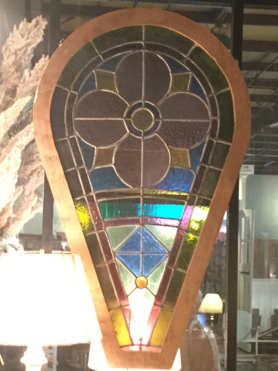 Pair of Late 19th century Rose Petal Cathedral Stained Glass Window Insert