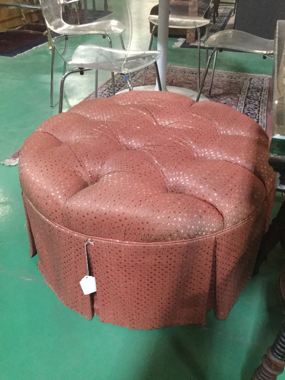 Round Tufted Ottoman Reupholstered in Silk Blend Fabric