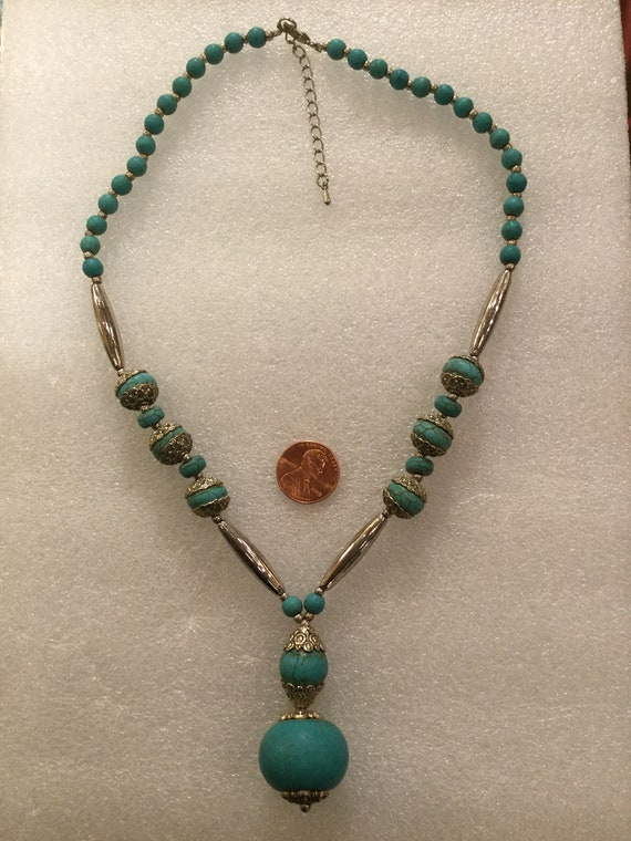 SOLD - Vintage 1970s Turquoise and Silver Drop Necklace 19 inches Length with 2 inches extender