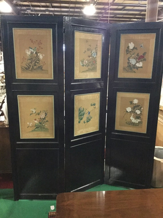 SOLD: Early 20th Century 3 Panel Painted Black wood and HandPainted Silk with Birds and Flowers