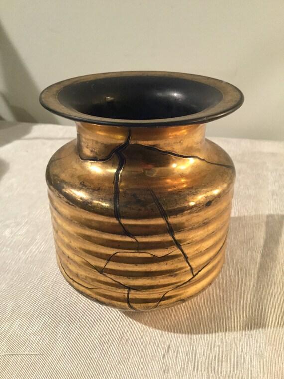 Ca. 1930s Verre Dorre St.Prex French Swiss 24K Gold Vase
