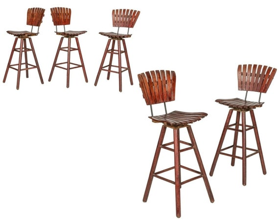 Set of 5 Mid Century Arthur Umanoff Att. Cherry Wood Stools with Wrought Iron Body