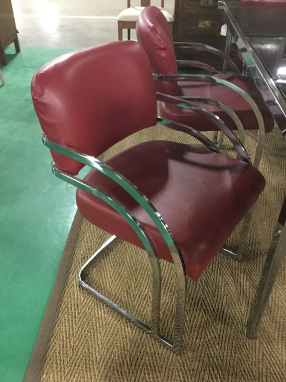 Set of Six Lambskin Leather Chrome Chairs in Style of PACE