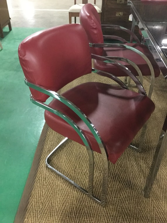 SOLD - Set of Six Lambskin Leather Chrome Chairs in Style of PACE