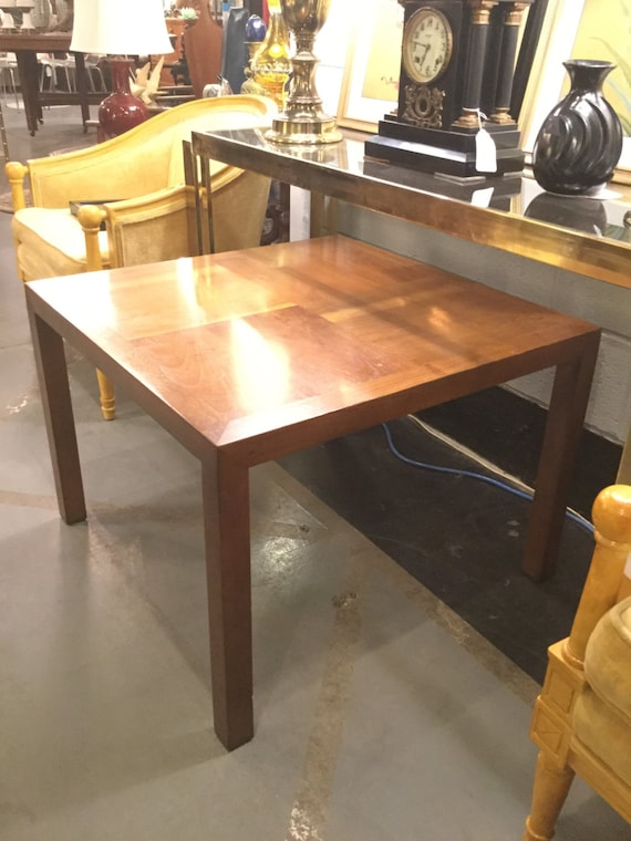 Pair of  Lane Walnut Marquetry Design Parsons style tables