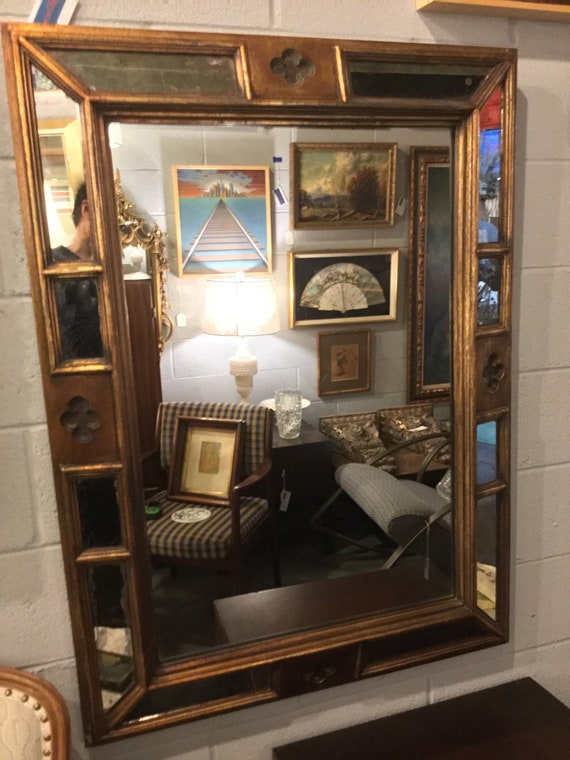 Mid Century Venetian Mirror, Italian with Gilded Solid Wood Carved Details