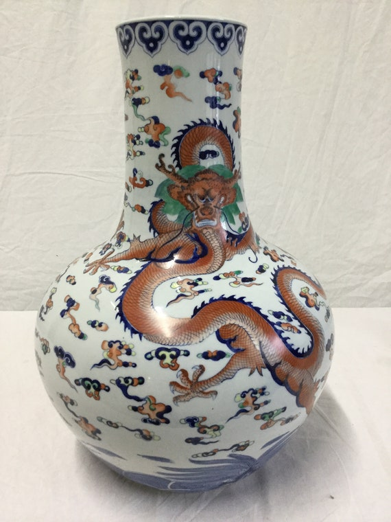 Imari Chinese Monumental Hand Painted Porcelain  Dragon Vase Ca. 1890s-1920s