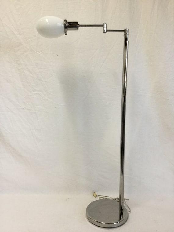 Mid Century Walter Von Nessen Telescopic Chrome Floor Lamp with Articulating Arm with Original Milk Shade