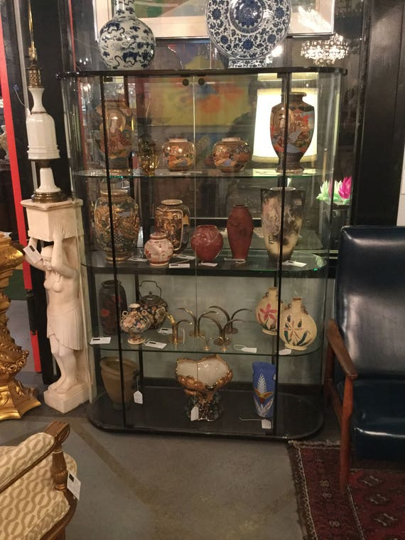 SOLD - Ca. 1970s FIAM ,Italy convexed Glass Pair of Curio Cabinets